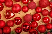 Hristmas Decoration With Lots Of Beautiful Red Ornaments
