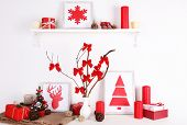 Christmas decoration on burlap cloth on white wall background
