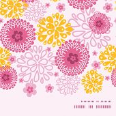 Vector pink field flowers horizontal frame seamless pattern background
