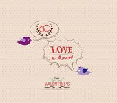 valentines poster with bird and bubble greeting card