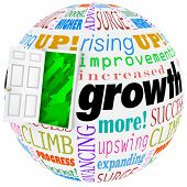 Growth word and related phrases like expanding, progress, climbing, increasing, and improving on a world or globe and open door to arrows rising upward to success and higher results