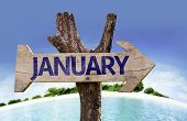 January sign with a beach on background