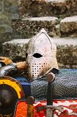 picture of knights  - Protective helmet with a visor on medieval knight - JPG