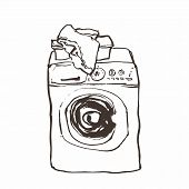 Laundry washing machine hand drawn ink sketch, vector