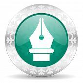 pen green icon, christmas button