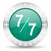 7 per 7 green icon, christmas button