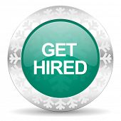 get hired green icon, christmas button