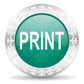 print green icon, christmas button