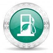 biofuel green icon, christmas button, bio fuel sign