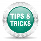 tips tricks green icon, christmas button
