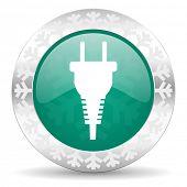 plug green icon, christmas button, electric plug sign