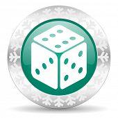casino green icon, christmas button, hazard sign
