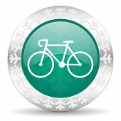 bicycle green icon, christmas button, bike sign