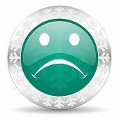 cry green icon, christmas button