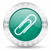 paperclip green icon, christmas button