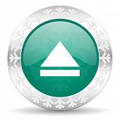 eject green icon, christmas button, open sign