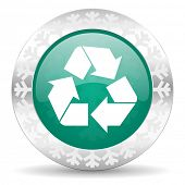 recycle green icon, christmas button, recycling sign