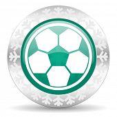 soccer green icon, christmas button, football sign