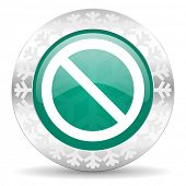 access denied green icon, christmas button