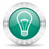 bulb green icon, christmas button, light bulb sign