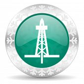 drilling green icon, christmas button