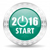 new year 2016 green icon, christmas button, new years symbol