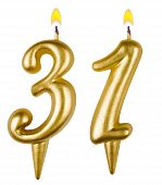 Birthday Candles Number Thirty One  Isolated