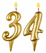 Birthday Candles Number Thirty Four Isolated