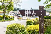 stock photo of crippled  - Toilet signboard and tree at Japan  - JPG
