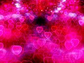 stock photo of corazon  - Valentine Hearts Abstract Pink Background with bokeh - JPG
