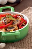 Sauteed mushrooms with pumpkin and sweet pepper