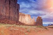 Unique Buttes In Monument Valley In Utah State, Usa. Sunlight Effect Used