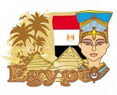 pic of cleopatra  - Egyptian queen cleopatra on the background of the flag of Egypt  - JPG