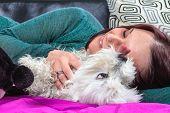 Women Lying Near Her Dog