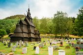 Borgund Stave Stavkirke Church And Graveyard, Norway