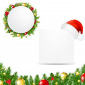 Happy Christmas Banner With Santa Hat With Gradient Mesh, Vector Illustration