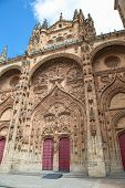 foto of academia  - Plateresque facade of the University building of Salamanca Castile and Leon Spain - JPG