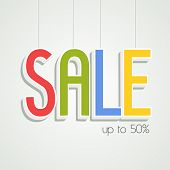 Hanging tag, sticker and label of Sale on shiny background.