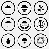 Weather set. Black and white set vector icons.