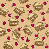 cake and cherry seamless pattern cartoon illustration