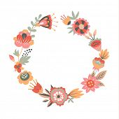 Hand-drawn floral frame made in vector