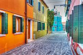 Colorful Backstreet In Burano, Italy
