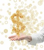 stock photo of gold tooth  - hand holding gold cogs in form dollar isolated to whuite - JPG