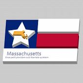 The Outline Of The State Of Massachusetts Is Depicted On The Background Of The Stars Of The Flag Of