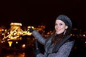Woman Tourist Pointing Chain Bridge At Budapest