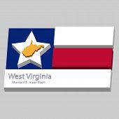 The Outline Of The State Of West Virginia Is Depicted On The Background Of The Stars Of The Flag Of