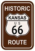 stock photo of kansas  - Kansas Historic Route 66 traffic sign with the legend HISTORIC ROUTE US 66 - JPG
