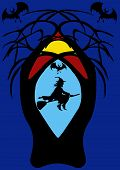 Witch On Broomstick In Spooky Tree