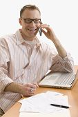 Man on Cell Phone, Working from Home - Isolated