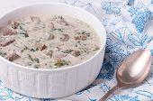 French Veal Ragout In White Porcelain Bowl. Blanquette De Veau.
